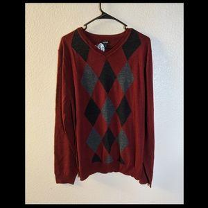 NWT Apt. 9 Red Argyle Men's Sweater Sz XL